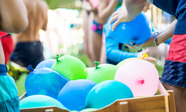 Water balloons at picnic